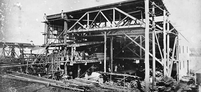 Fire at Pettigrew's sawmill