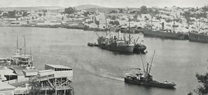The rebuilt Sanitation Depot wharf is at the lower left side of the image, making its contribution to the industrial nature of Queen's Wharf in the first half of the twentieth