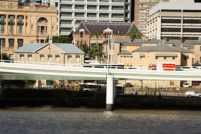 Some of the historic buildings of Queen's Wharf that are to be included in the redevelopment. View from South Bank.